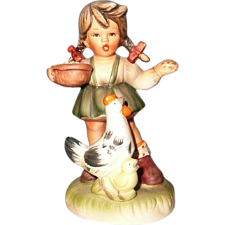 Vintage 1950's Old Japan Girl Feeding her Chicken and Baby Chick