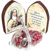 St. Therese De Lisieux Icon with Red Roses Rosary in  Case