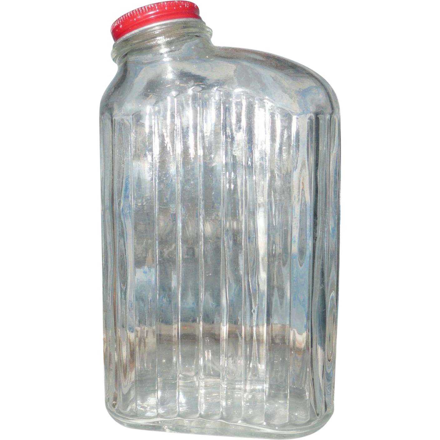 Vintage clear glass water refrigerator bottle with for Retro glass bottles