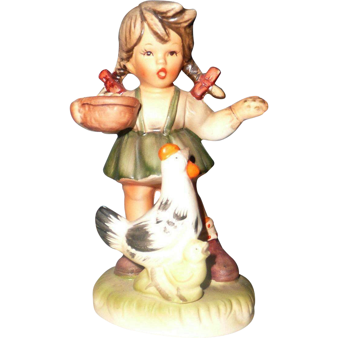 Vintage Made in Japan Figurine of Little Girl Feeding Hen
