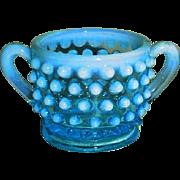 Fenton Blue Opalescent Hobnail  Sugar  Dish