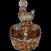 Vintage Jeannette Glass Marigold Carnival Poodle  Dish