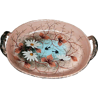 Beautiful Oriental  Pottery Dish with Handles