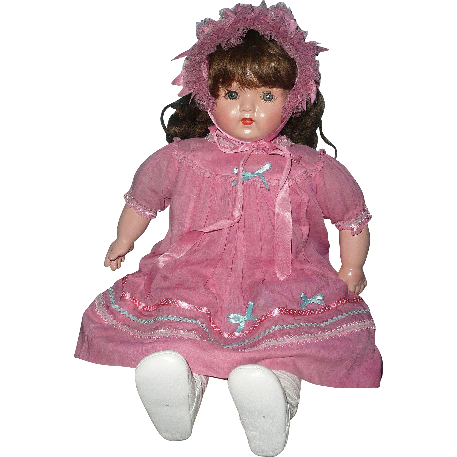 Primitive  Composition Doll Girl in Pink