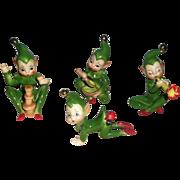 Josef Originals Group of Green Elfs
