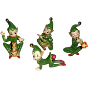 Josef Originals Group of Green Elfs