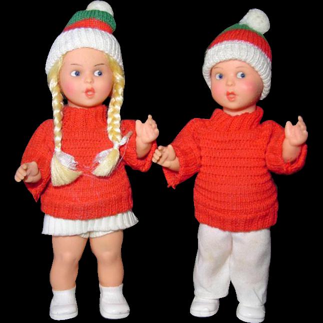 Vintage Western German Pair of Boy Girl Doll