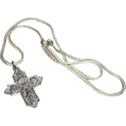 Beautiful Roman Catholic  Silver  Cross Pendant