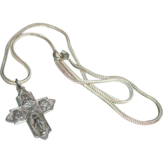 beautiful roman catholic silver cross pendant from