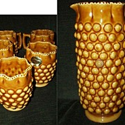 Tall Golden Topaz Pitcher and Set of Mugs  by Inarco
