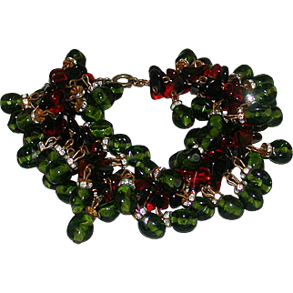 Vintage Red And Green Glass, Rhinestone Rondelle Bracelet