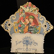 Vintage Valentine, Boy & Girl,  3-D w/Red Honeycomb Tissue