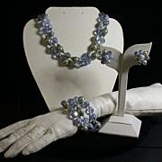 Vendome 3-pc. Parure, Pale Blue, Faux Pearls, Vintage 1960's