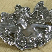 Sterling Art Nouveau Style Pin/Pendant w/Fairy Lady