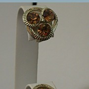Vintage Kramer Clip Earrings w/Topaz Color Rhinestones