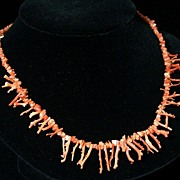 Vintage Natural Tiny Branch Coral Necklace, Salmon Color, 18""