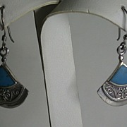 Sterling & Turquoise Fan-shaped Dangle Earwires