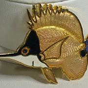 "Vintage Enamel Fish Pin, Signed ""Wm. Spear 1988"""