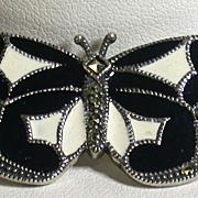 Vintage Judith Jack Butterfly Pin in Sterling, Enamel and Marcasites