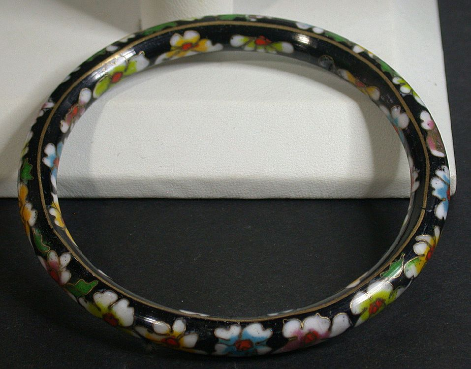 Vintage Asian Cloisonne Bangle Bracelet Black W Flowers Ck Antiques Ruby Lane