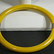 Vintage Bright Yellow Bangle Bracelet w/Brass Binding