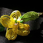 Vintage Wire & Beaded Yellow Flower And Foliage