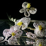 Vintage Wire Beaded Flowers Pale Pink/Yellow Spray