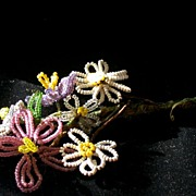 Vintage Beaded Wire Flowers, Multi-colored