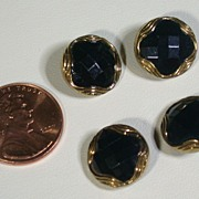 Vintage Black & Gold Glass Buttons, Set of 4
