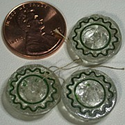 Vintage Clear Glass Buttons w/Green Decoration, Set of 3