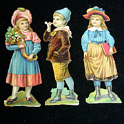 Victorian Set of 3 Diecuts of Children-Smoking Boy, Girls w/Book, Flowers