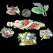 Victorian Period Set of 6 Tiny Diecuts of Flowers/Baskets/Messages