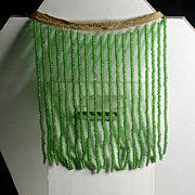 Green Tiny Bead Lampshade Fringe on Bias Tape Circa 1900-30