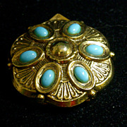 "Vintage ""ART"" Scarf Clip/Pin Set With Turquoise Blue Cabochons"