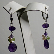 Faceted Amethyst, FW Pearl, Peridot & Sterling Drop Earrings