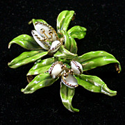 Hattie Carnegie Enameled Orchid Pin Vintage Mid 20th Century