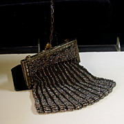 Vintage Cut Steel Beaded Evening Purse, Circa 1890-1920