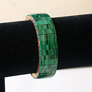 Vintage Malachite Flex-band Bracelet With Horizontal Patterning