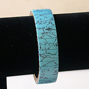 Turquoise-blue Stone Flex-band Bracelet With Black Tracery
