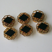 Set of 6 Vintage Button Covers With Hinged Backs