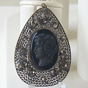 Vintage Czech Black Glass Cameo & Filigree Pendant, Marcasites