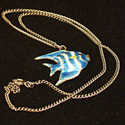 Vintage Enamel On Silver Blue Striped Angel Fish Pendant On Chain