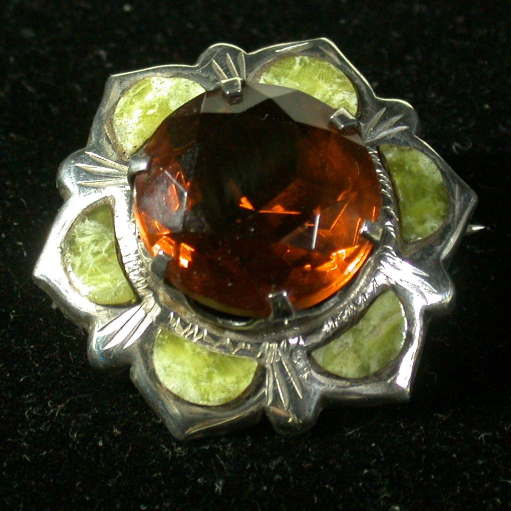 Victorian Scottish Pebble Jewelry Pin W/Cairngorm, Sterling