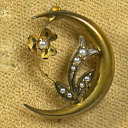 Victorian Period Seed Pearl & 10k Gold Crescent Moon & Flower Pin