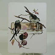 Victorian Period Japonesque Card W/Birds In A Landscape