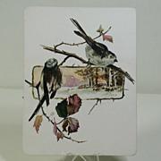 Victorian Period Japonesque Card W/Birds In A Landscape