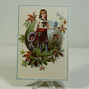 Antique Trade Card, Boy w/Forget-Me-Nots, Mt. Clemens, MI