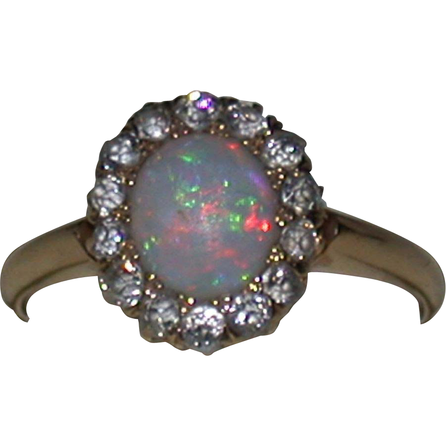 Opal, Diamond & 18K Gold Ring, Vintage Estate, Size 5