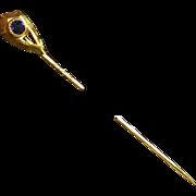 Antique 14K Stickpin w/Blue Stone, Maker's Mark