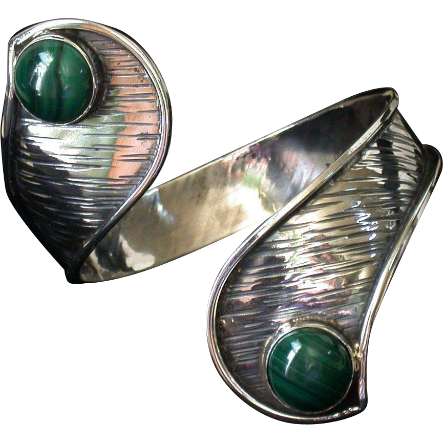 Sterling And Malachite Vintage Handmade Bracelet, Israeli